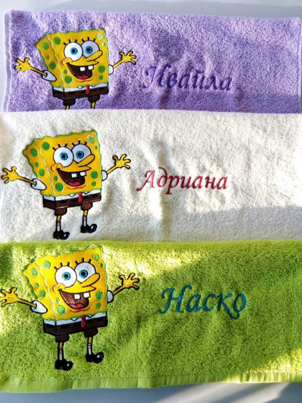 Бродерия върху кърпи - Спондж Боб